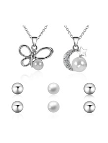 Butterfly And Moon Pearl Detail Necklace 2pcs & Earrings 3pairs