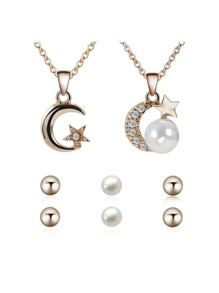 Rhinestone Moon And Star Necklace 2pcs & Earrings 3pairs
