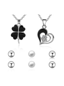 Heart And Clover Pendant Necklace 2pcs & Earrings 3pairs