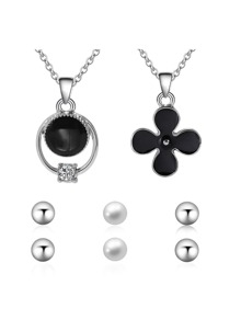Clover And Ring Pendant Necklace 2pcs & Earrings 3pairs