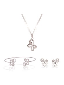 Rhinestone Butterfly Necklace & Bracelet & Earrings Set