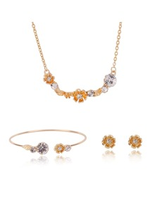 Rhinestone Flower Necklace & Bracelet & Earrings Set