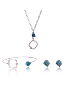 Open Square & Diamond Necklace & Bracelet & Earrings Set