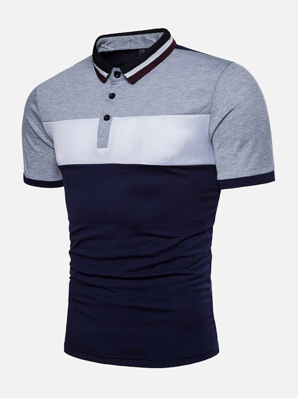 4ee65e20c1 Men Cut And Sew Panel Polo Shirt | SHEIN IN