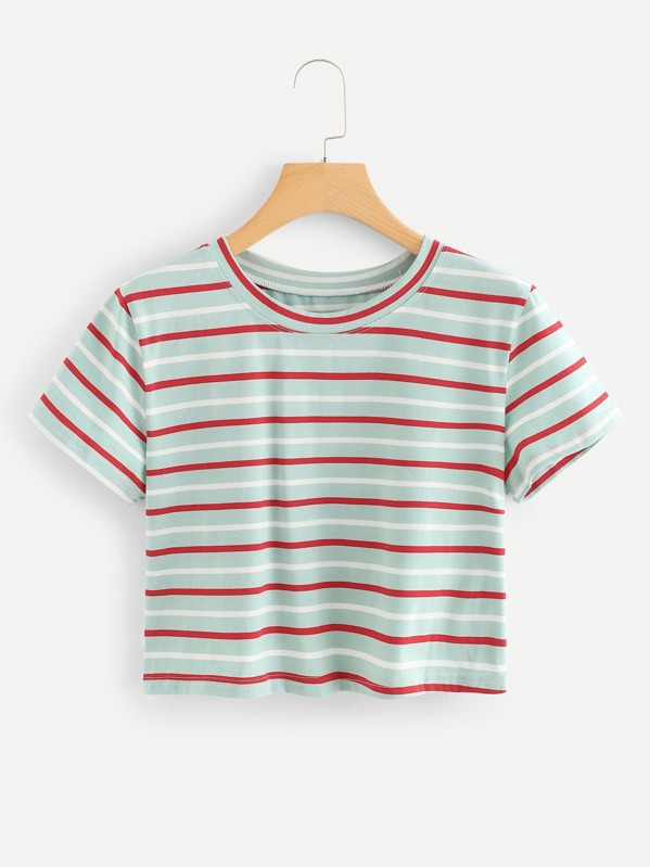 dca321c109 Cheap Contrast Striped Crop Tee for sale Australia | SHEIN