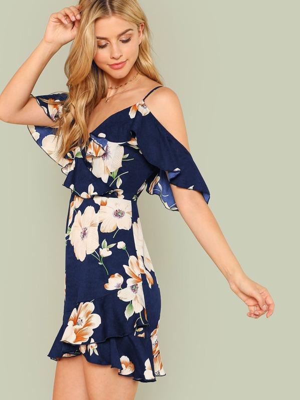 a22716cf0c Flounce Cold Shoulder Ruffle Hem Floral Dress