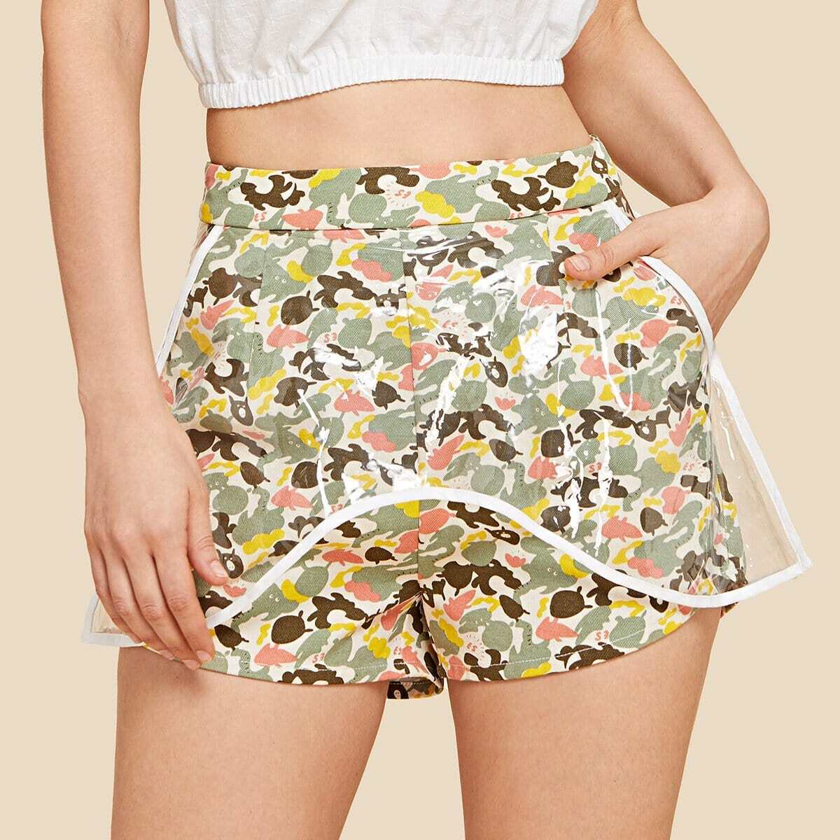 - Camo Print Shorts with Transparent Cover