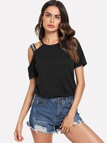 Pearl Beading Strappy Shoulder T-shirt
