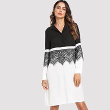 Two Tone Lace Applique Shirt Dress