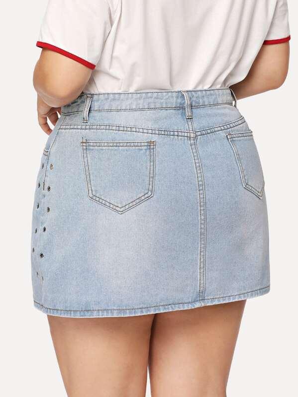 65f12107560 Plus Grommet Detail Denim Skirt
