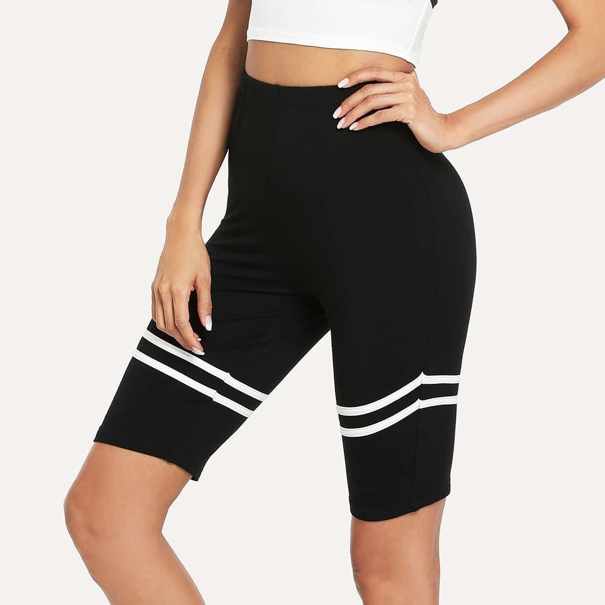- Contrast Striped Trim Short Leggings