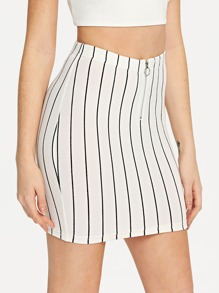 O-Ring Zip Up Striped Bodycon Skirt