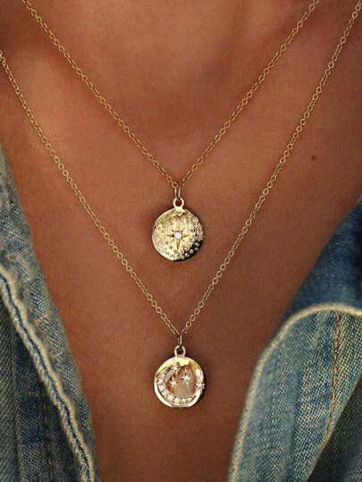 Rhinestone Moon & Star Decorated Pendant Necklace