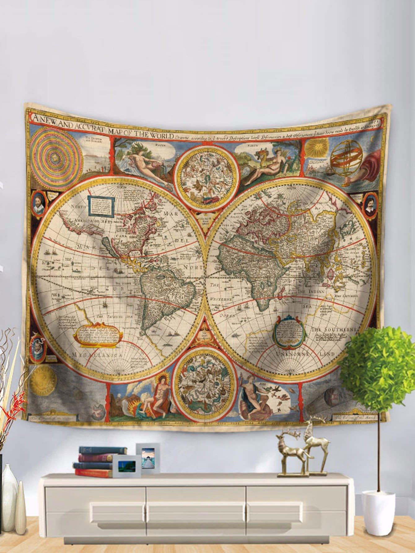 tapisserie imprim e carte du monde shein. Black Bedroom Furniture Sets. Home Design Ideas