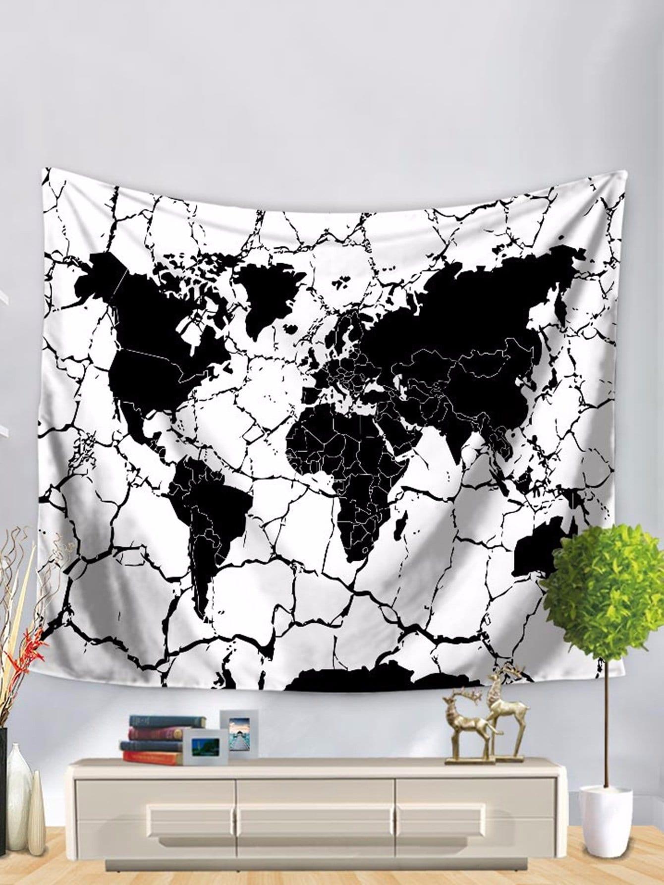 tapisserie imprim e carte du monde romwe. Black Bedroom Furniture Sets. Home Design Ideas