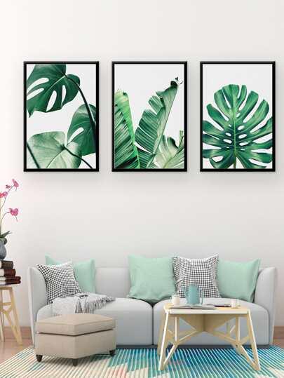 Tropical Leaves Cloth Wall Art 3pcsFor Women-romwe