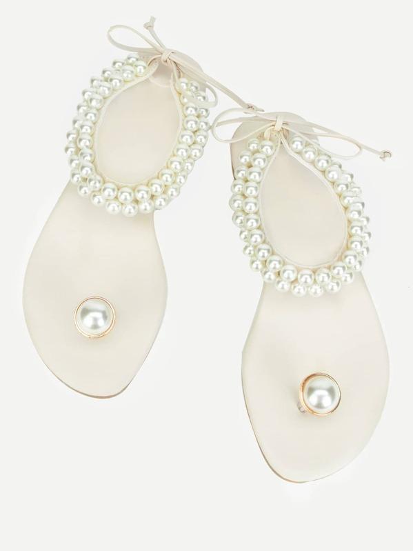 68c569da1721 Toe Ring Faux Pearl Sandals
