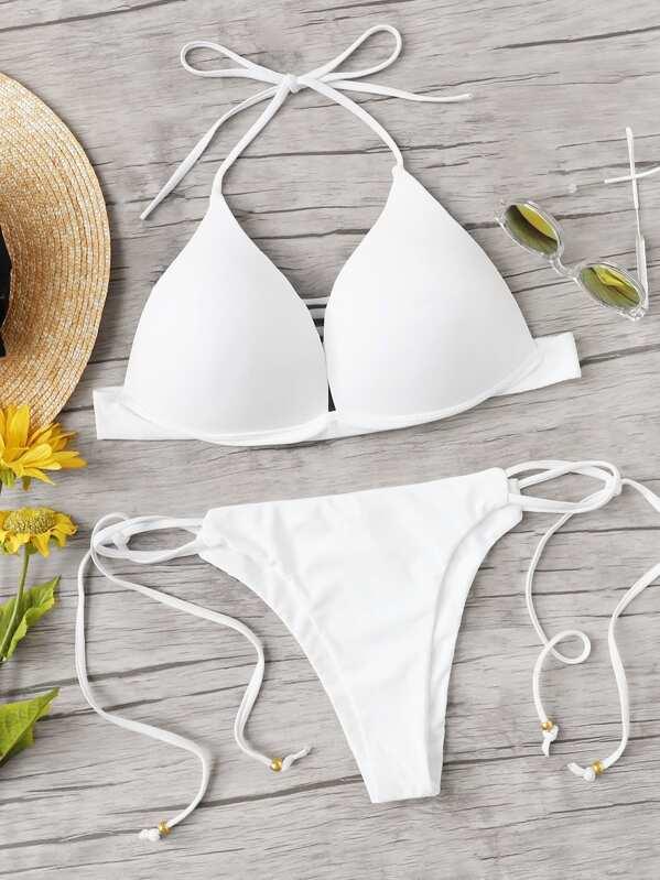 4323e2fd37 Plus Knot Back Halter Top With Tie Side Bikini Set | SHEIN