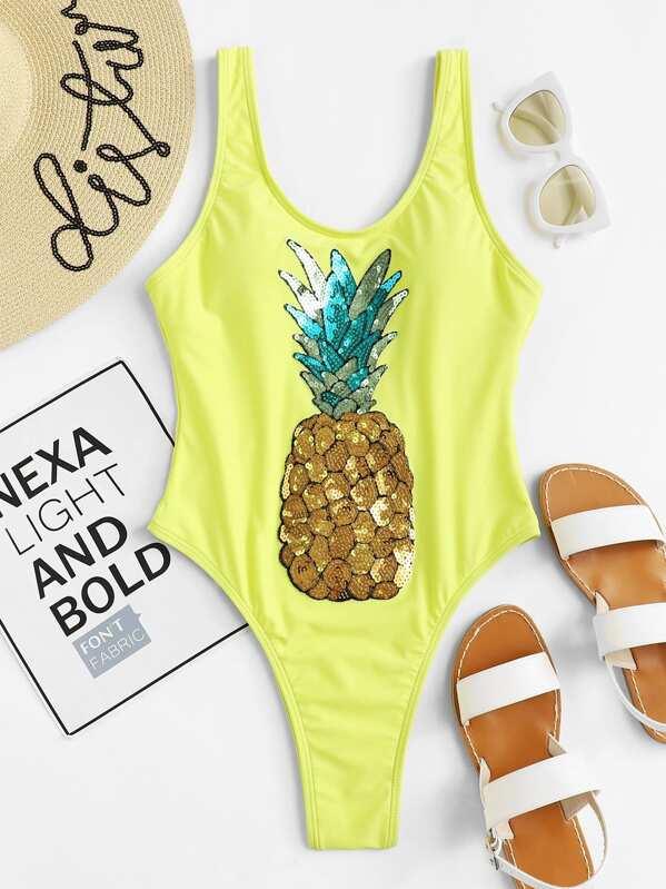 4646143d75 Maillot de bain contrasté imprimé ananas à paillette