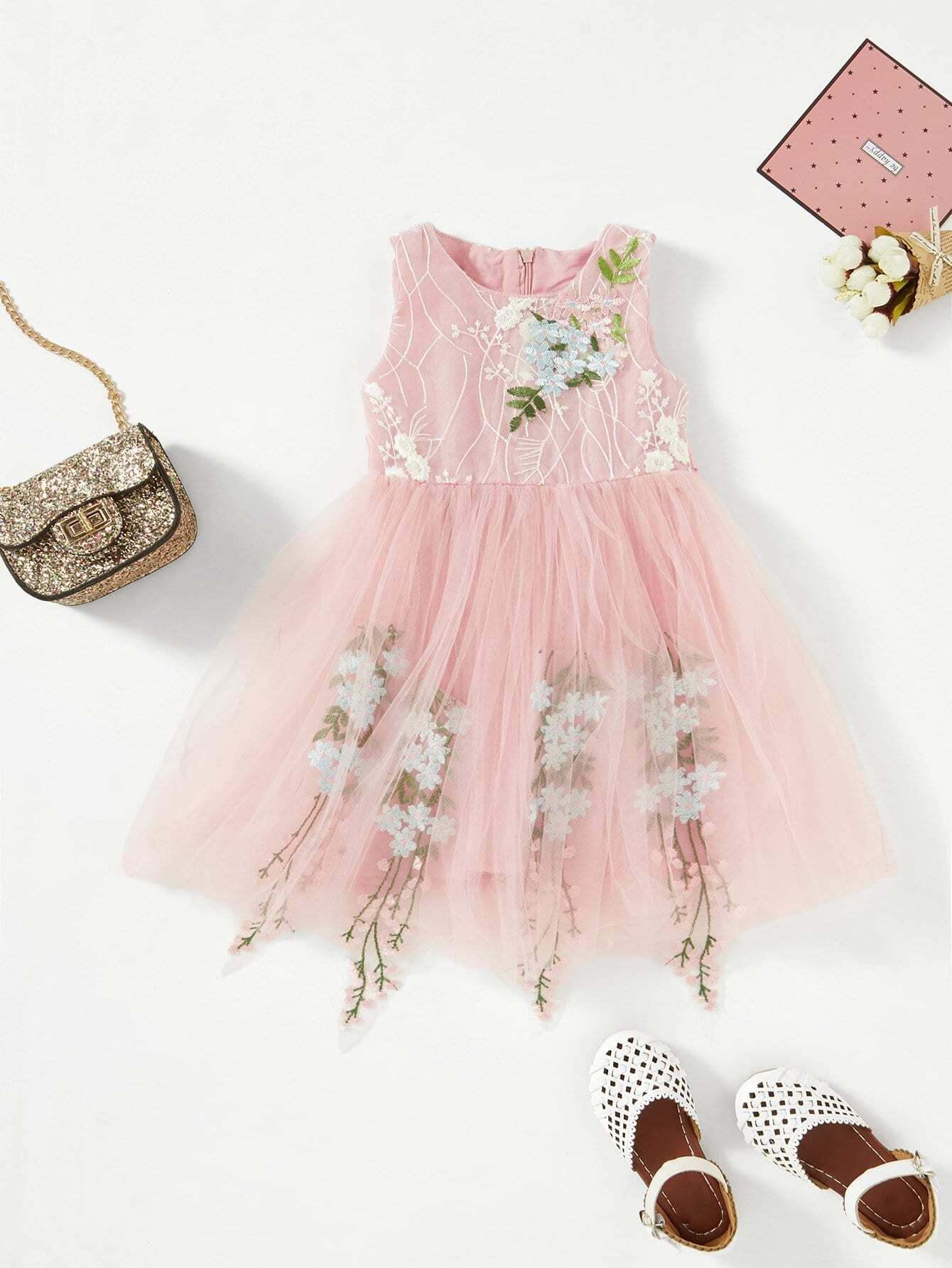 3ec870f00 Toddler Girls Floral Embroidery Tutu Dress | ROMWE