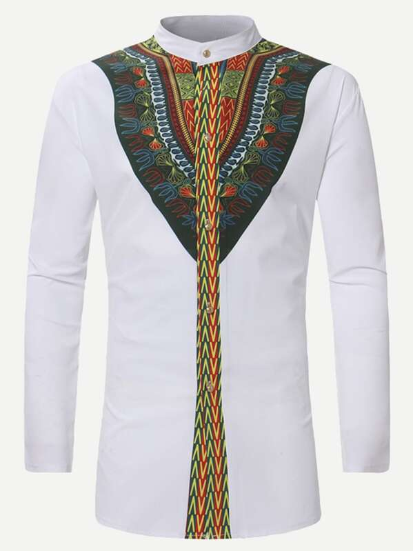 quality design f582a 71526 Men Ornate Print Long Shirt