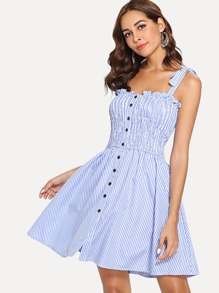 Frill Trim Striped Knot Cami Dress