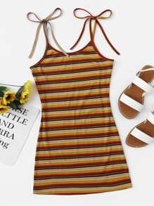 Colorful Striped Cami Dress