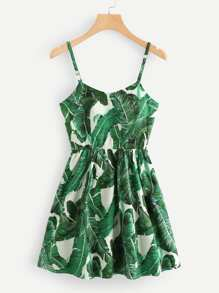 Tropic Print Lace Up Back Cami Dress
