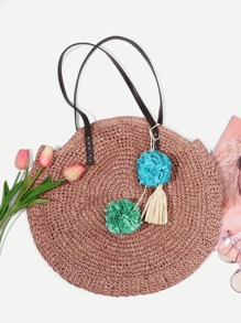 Tassel Decorated Straw Tote Bag