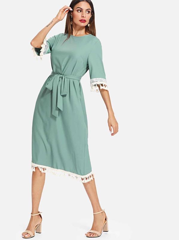 d4bb545d480 Sequin Panel Tassel Trim Self Belt Dress