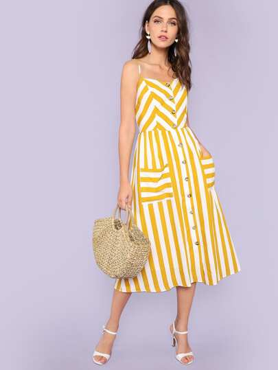 Button Through Shirred Back Pocket Striped Cami Dress