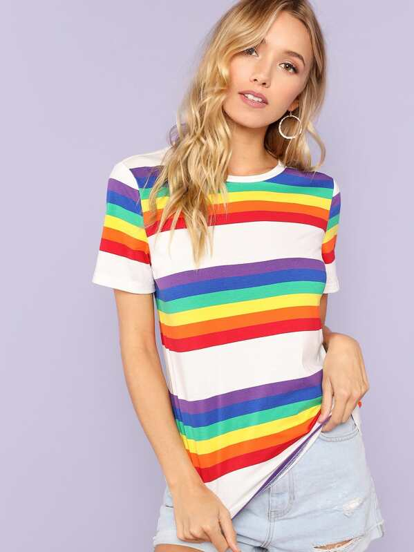 3288101bd02 Cheap Short Sleeve Rainbow Stripe T-shirt for sale Australia