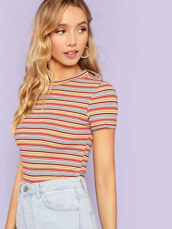 ce2a038682 Ribbed Knit Striped Tee | SHEIN