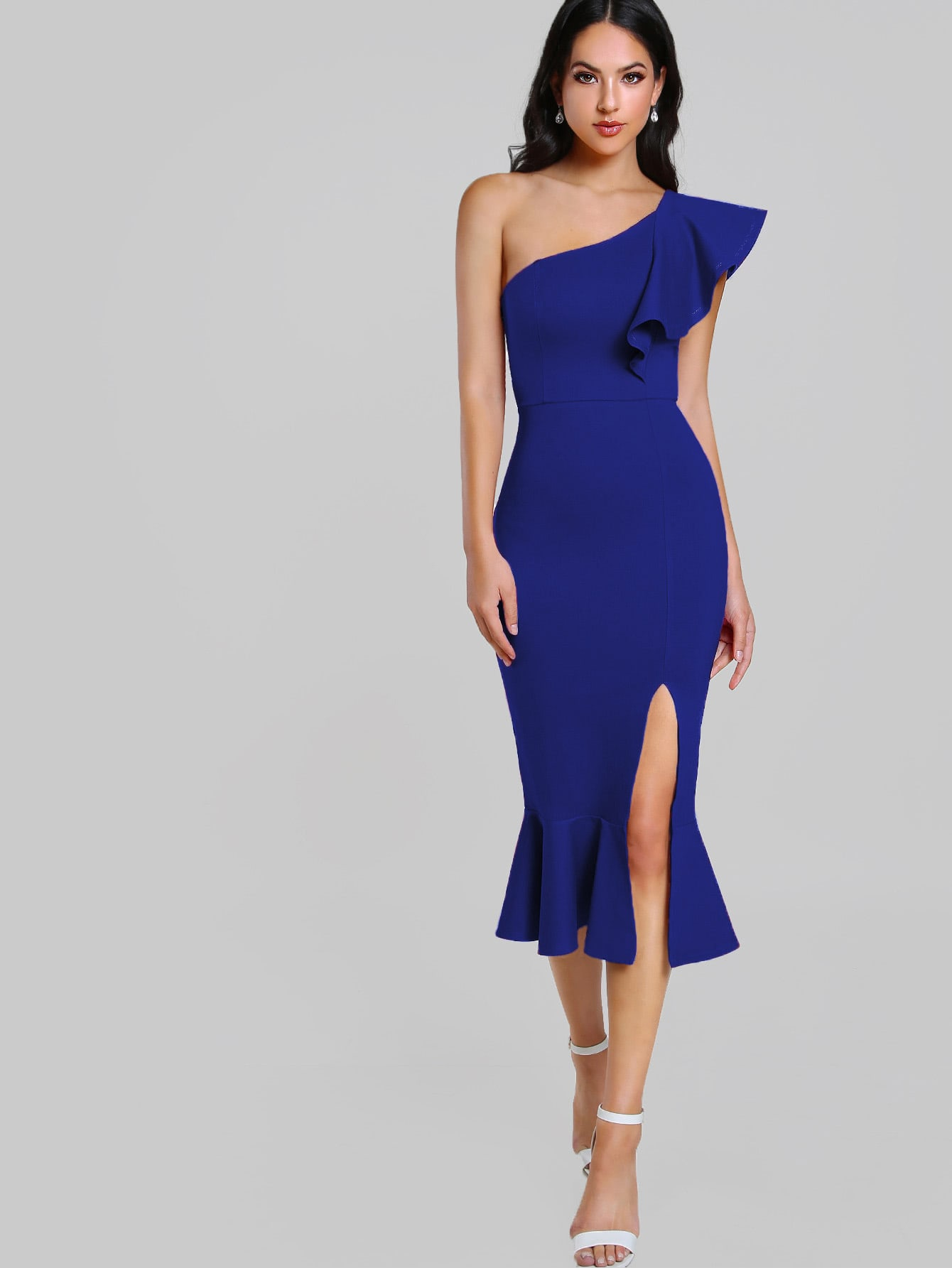 Flounce One Shoulder Slit Fishtail Dress Flounce One Shoulder Slit Fishtail Dress