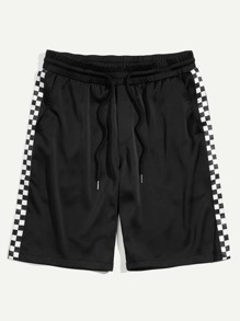 Men Checked Panel Drawstring Waist Shorts