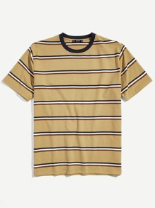 9b60bedb Guys Embroidered Floral Striped Tee | ROMWE