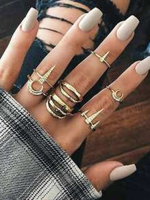 Cone Detail Ring Set 7pcs