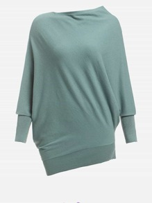 Dolman Sleeve Asymmetric Hem Sweater