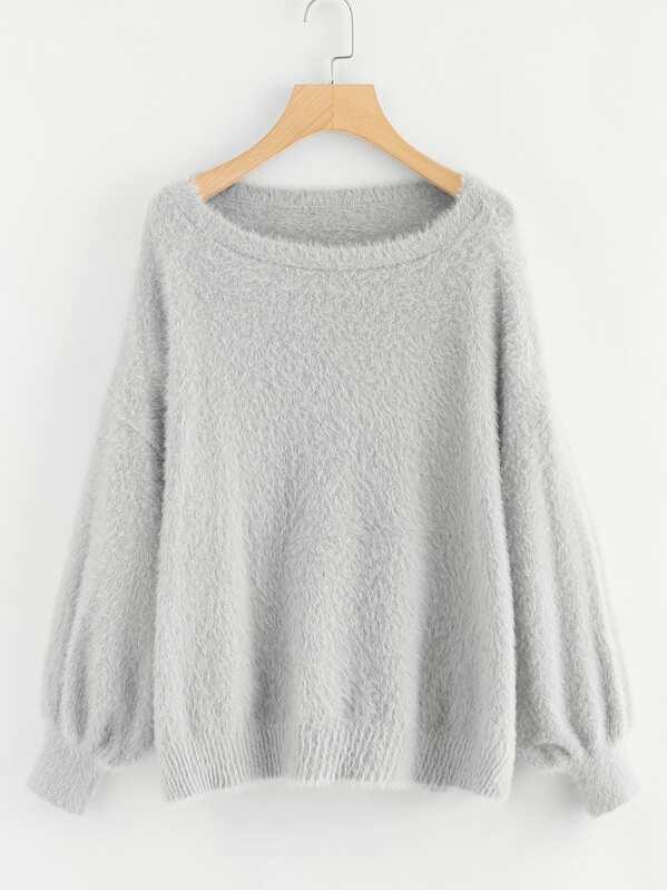 8f2b16a1cc Lantern Sleeve Fuzzy Sweater