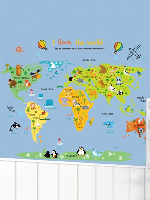 Cartoon world map wall sticker sheinsheinside gumiabroncs