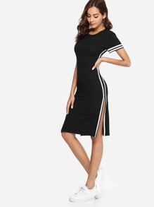 Split Side Open Waist Striped Dress