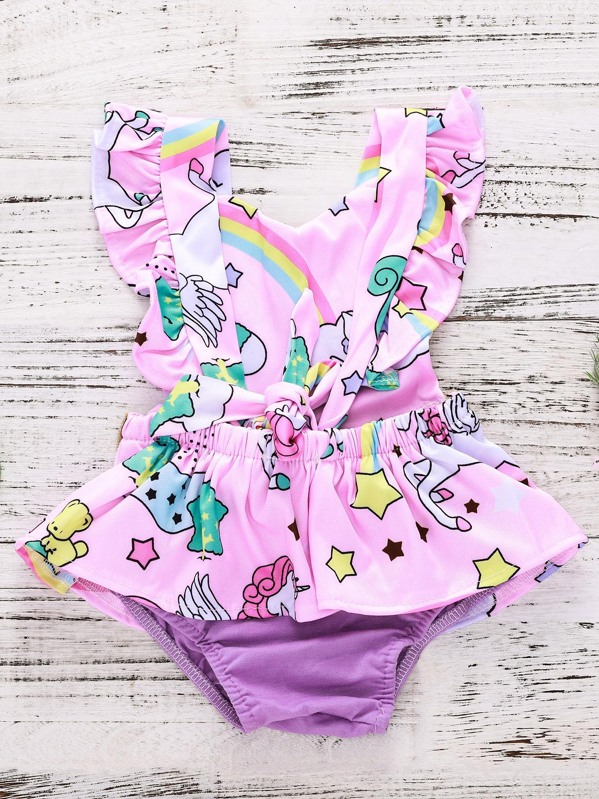 90725c082a4d Toddler Girls Unicorn Print Romper Dress