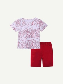 Toddler Boys Abstract Print T-shirt With Shorts