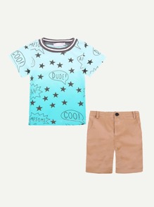 Toddler Boys Star Print Tee With Shorts