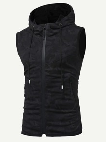 Men Hooded Sleeveless Jacket