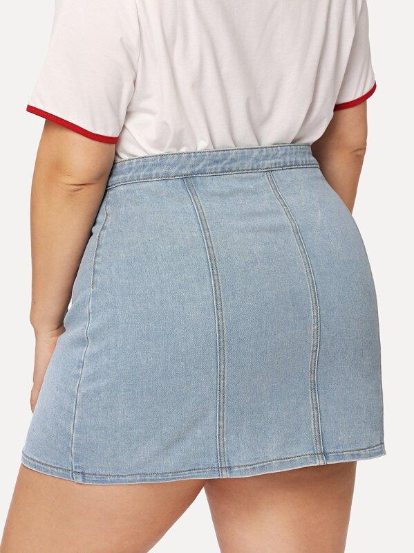 36ae2a4d6a53c Plus Button Front Pocket Denim Skirt | SHEIN