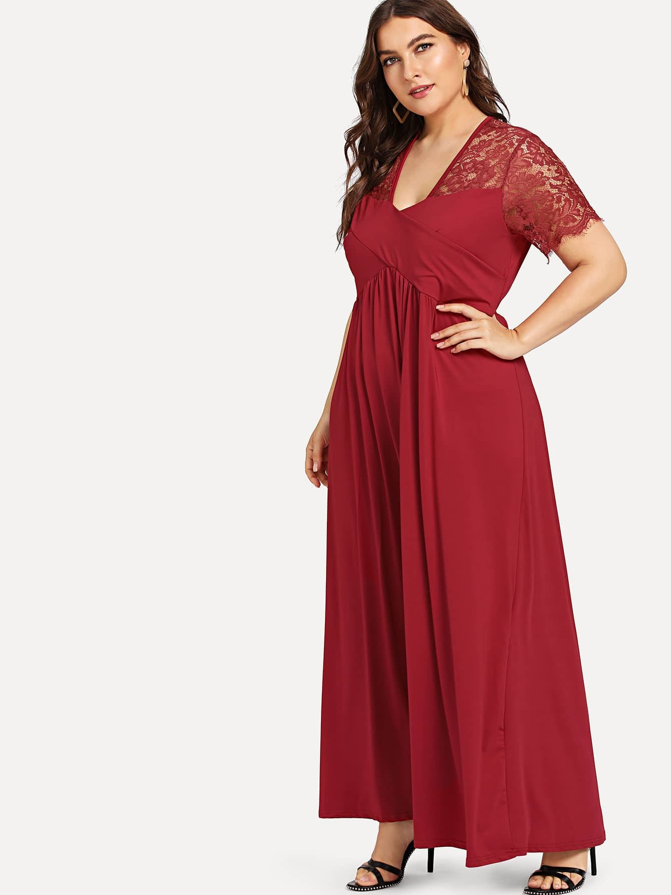 Plus Lace Panel Ruched Dress | SHEIN