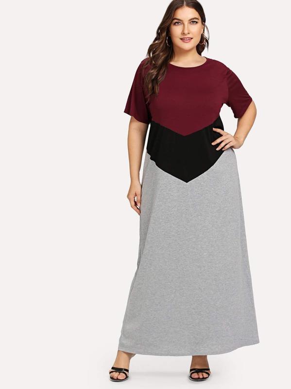 Plus Color Block Maxi Dress