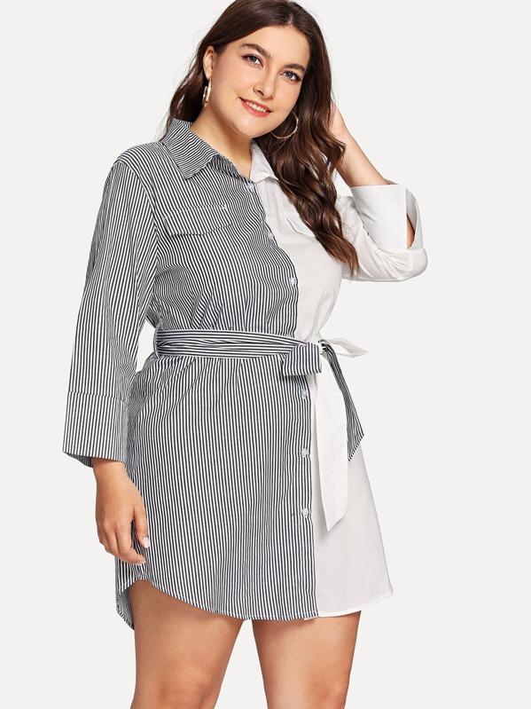 5df90a0a1 فستان بلونين بشكل قميص مع حزام | شي إن