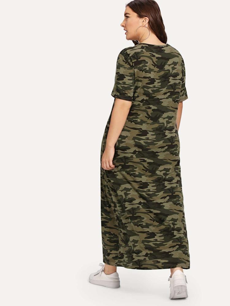Plus V-Neck Camo Dress   SHEIN
